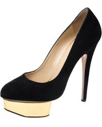 Charlotte Olympia Dolly Black Leather Heels