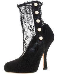 Dolce & Gabbana Dolce And Gabbana Black Lace Pearl Embellished Socks Boots