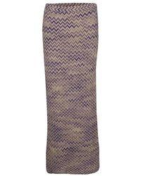 Missoni Beige Chevron Pattern Wool Maxi Skirt M - Natural