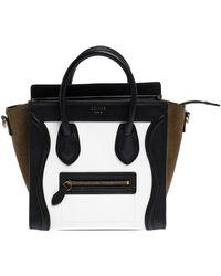 Celine Tri Colour Leather And Suede Nano Luggage Tote - Black