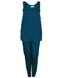 Chloé Cyan Blue Crinkled Silk Jacquard Top And Trousers Set