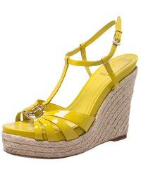 Dior Christian Yellow Patent Leather Cd2 T Strap Espadrilles Wedges Size 40