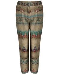 Etro Beige Aztec Printed Textured Fringed Bottom Trousers S - Natural