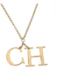 CH by Carolina Herrera Logo Charm Gold Tone Long Toggle Pendant Necklace - Metallic