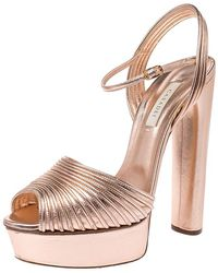 Casadei Metallic Embossed Bronze Leather Piping Detail Ankle Strap Platform Sandals