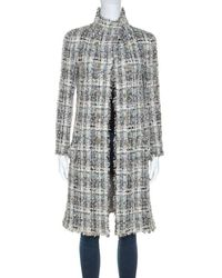 Chanel Grey Silk Blend Tweed Frayed Edge Coat S - Gray