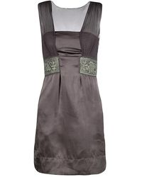 Philosophy di Alberta Ferretti - Grey Embroidered Sleeveless Silk Dress - Lyst