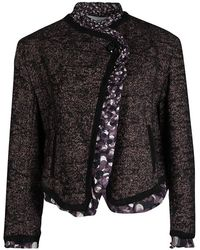 Jean Paul Gaultier Femme Multicolor Textured Wool Blend Jacket M - Black
