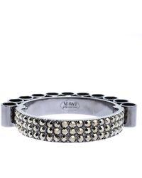 Mawi - Retrospective Embedded Crystal Hematite Plated Tube Cuff Bracelet 19cm - Lyst