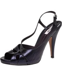 Moschino Navy Blue Textured Leather Slingback Open Toe Sandals