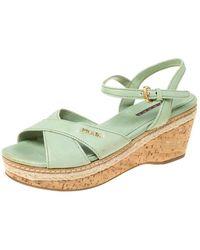 Prada Prada Green Leather Ankle Strap Platform Espadrille Sandals