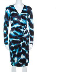 Diane von Furstenberg Blue Printed Silk Wrap Begona Dress