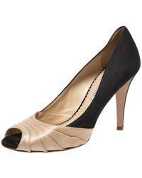 Oscar de la Renta Black/beige Satin Ruched Detail Peep Toe Pumps