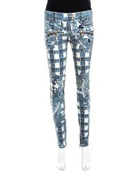 Balmain Indigo Light Washed Denim Baroque Printed Skinny Biker Jeans S - Blue