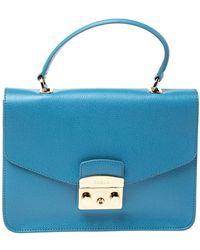 Furla Light Blue Leather Metropolis Top Handle Bag