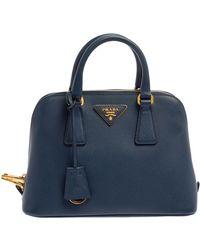 Prada Blue Saffiano Lux Leather Small Promenade Satchel