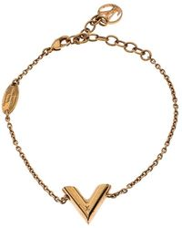 Louis Vuitton Essential V Gold Tone Bracelet - Metallic