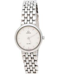 Omega Silver White Stainless Steel De Ville 795.1111 Women's Wristwatch 23 Mm - Metallic
