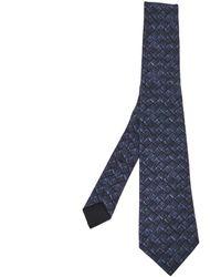 Bottega Veneta Midnight Blue Intrecciato Print Silk Tie
