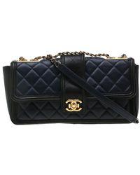 46d83a300047 Chanel - Black/blue Quilted Leather Medium Elegant Cc Flap Bag - Lyst
