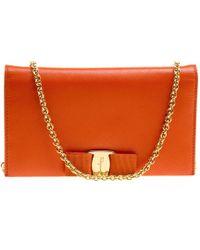 Ferragamo Orange Leather Miss Vara Wallet On Chain