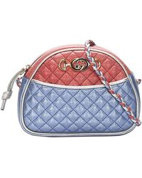 Gucci Red/blue Leather Laminated Trapuntata Small Bag