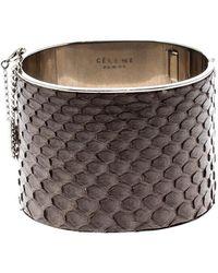 Céline Grey Python Leather Silver Tone Wide Cuff Bracelet - Gray