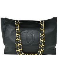 Chanel Black Leather Jumbo Xl Shopping Tote