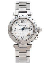 Cartier Silver Stainless Steel Pasha De Gmt 2377 Women's Wristwatch 35 Mm - Metallic
