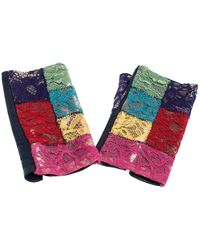 Chanel Multicolour Lace And Leather Fingerless Gloves - Blue