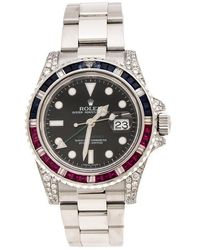 Rolex Pre-owned Gmt Master Ii Black Index Dial Oyster Bracelet Steel Mens Watch - Metallic