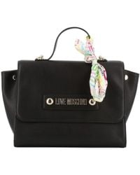 8e73f9db1c1 Moschino - Love Black Faux Leather Scarf Top Handle Bag - Lyst