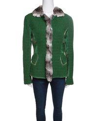 Roberto Cavalli Green Textured Wool Fur Trim Jacket