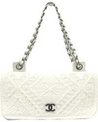 Chanel White Cotton Classic Crochet Flap Bag