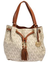Michael Kors Michael White/brown Signature Coated Canvas And Leather Gathered Tote