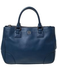 Tory Burch - Blue Leather Large Double Zip Robinson Tote - Lyst