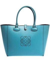 Loewe Light Blue Perforated Logo Leather Leo Tote