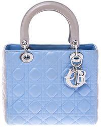 Dior Light Blue/grey Leather Medium Lady Tote
