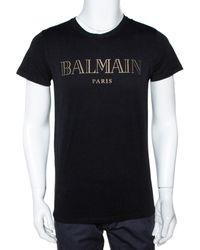 Balmain Black Cotton Logo Foil Print Crew Neck T Shirt M