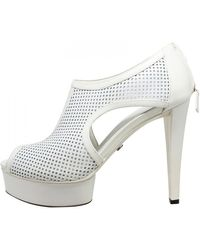 Gucci White Perforated Leather Kim Platform Ankle Boots