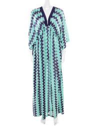 Missoni Mare Bicolor Chevron Patterned Knit Beach Cover Up Kaftan - Blue