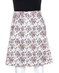 Tory Burch Cream Karina Print Cotton Silk Wrap Skirt - Multicolour
