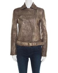 Tory Burch - Metallic Washed Leather Biker Jacket S - Lyst