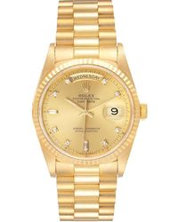 Rolex Champagne 18k Yellow Gold Diamond President 18238 Day-date Wristwatch 36mm - Metallic