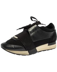 Balenciaga - Black Leather And Mesh Race Runner Sneakers - Lyst
