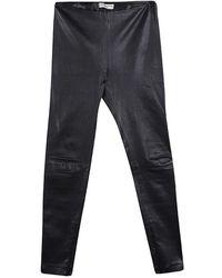 Balenciaga Black Lambskin Leather Skinny Trousers