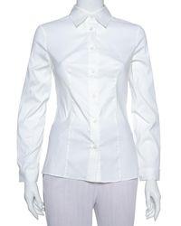 Prada White Stretch Cotton Button Front Shirt
