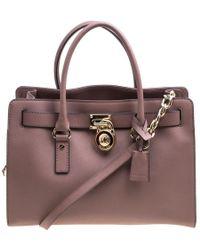 MICHAEL Michael Kors - Pale Pink Leather East West Hamilton Top Handle Bag - Lyst