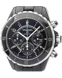 Chanel Black Ceramic J12 Chronograph Automatic H0940 Wristwatch 41 Mm