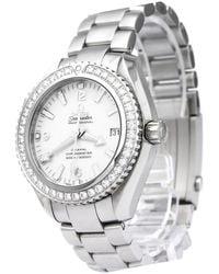 Omega White Stainless Steel Diamond Seamaster Planet Ocean Men's Wristwatch 42mm